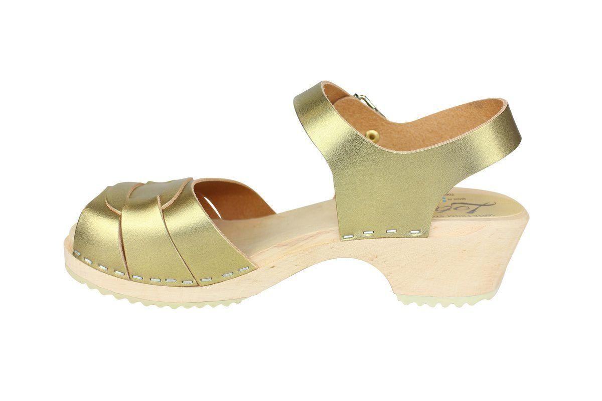 Low Peep Toe Clogs Antique Gold rev side