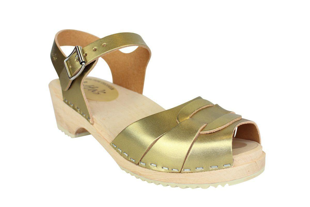 Low Peep Toe Clogs Antique Gold main