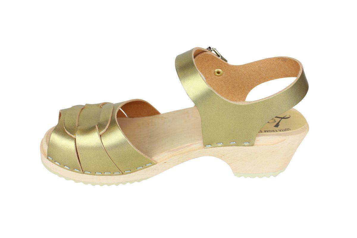 Low Peep Toe Clogs Antique Gold rev side 2