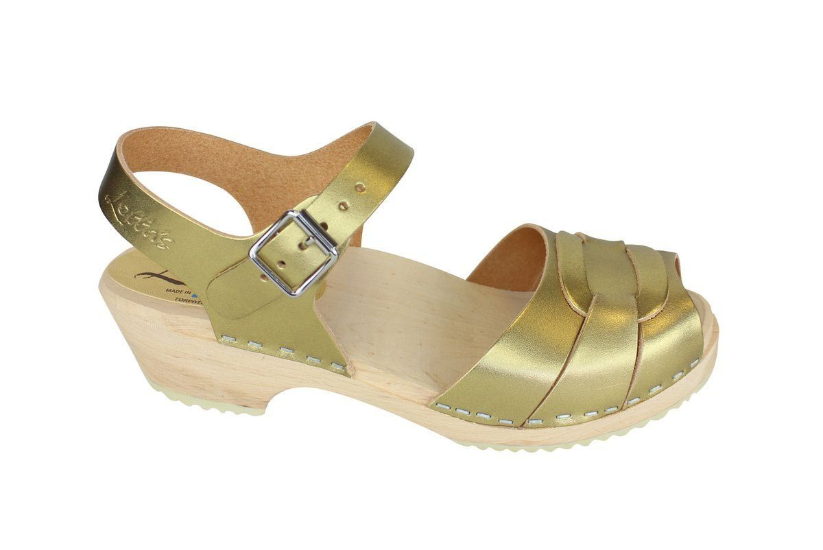 Low Peep Toe Clogs Antique Gold side 2