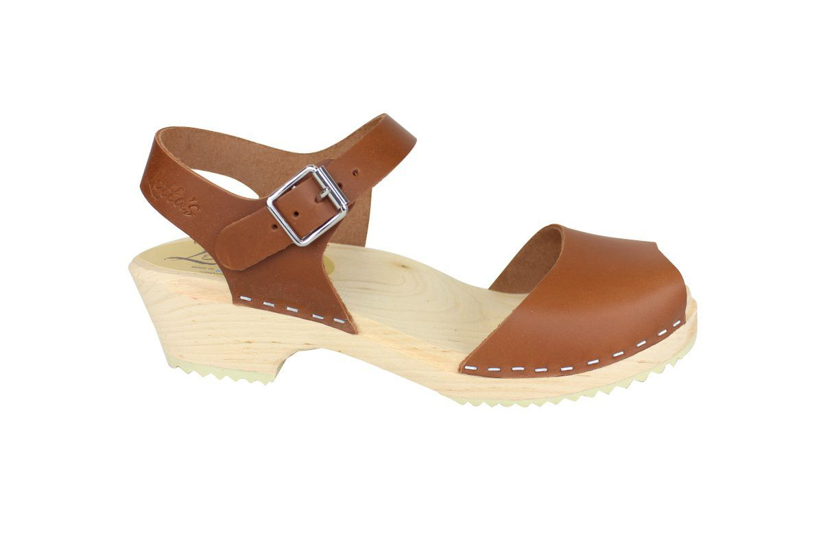 low wood open tan clogs side