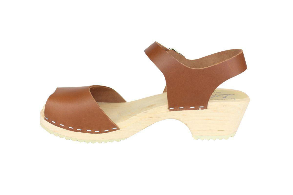 low wood open tan clogs rev side