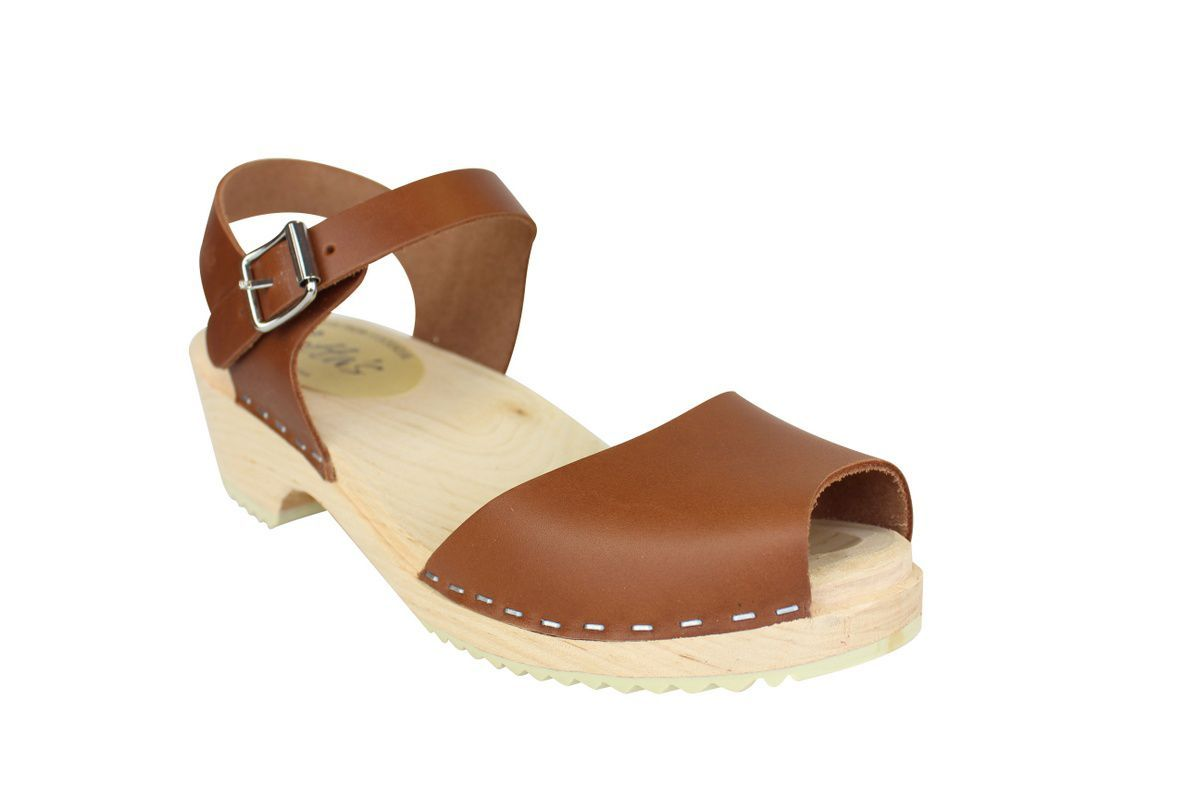 low wood open tan clogs main