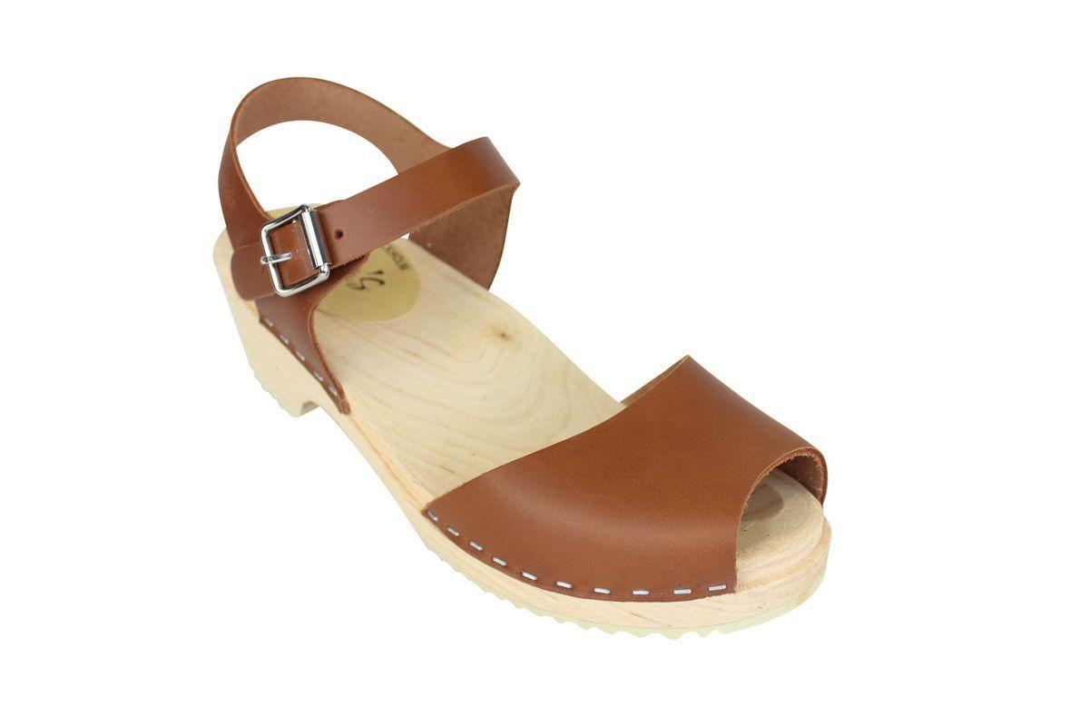 low wood open tan clogs