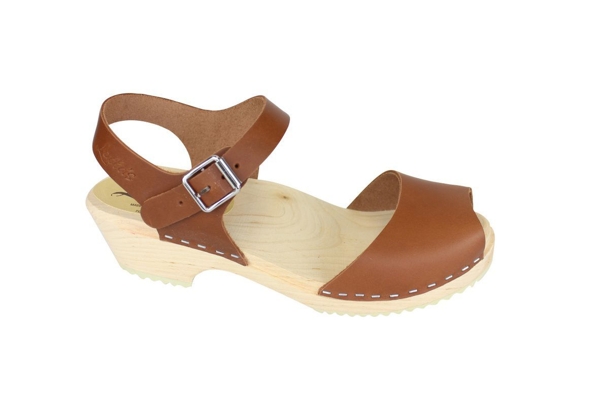 low wood open tan clogs side 2