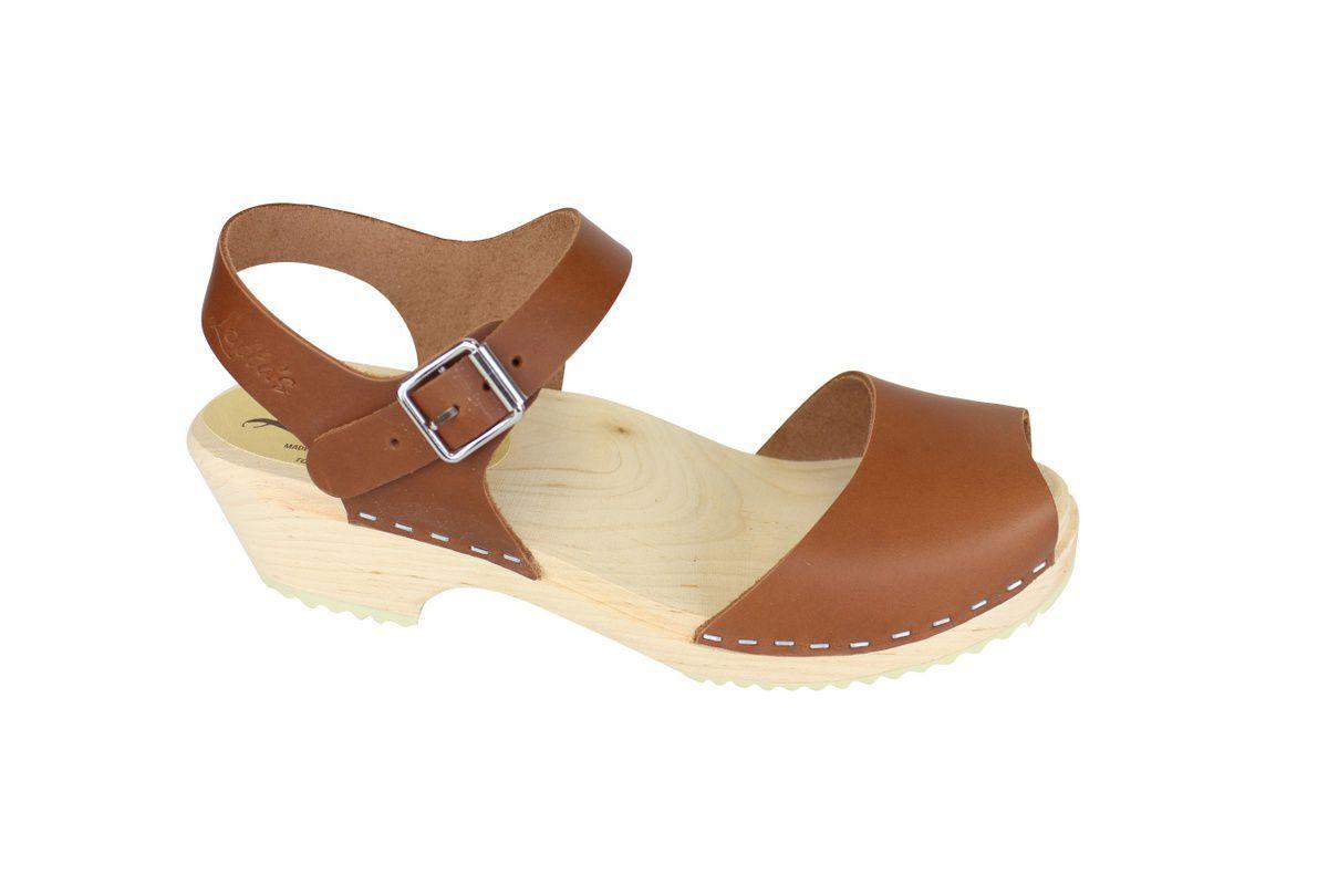 low wood open tan clogs side 2
