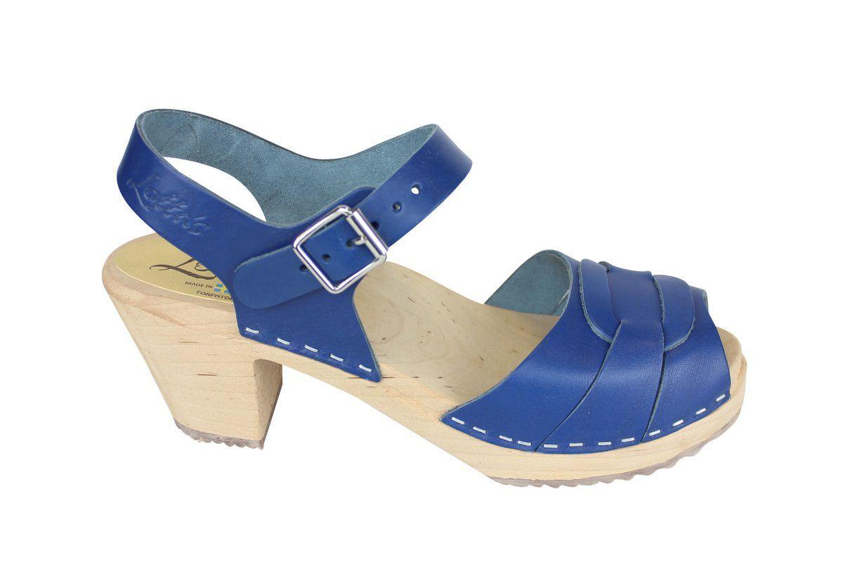 Peep Toe Clogs Ocean Blue side 2