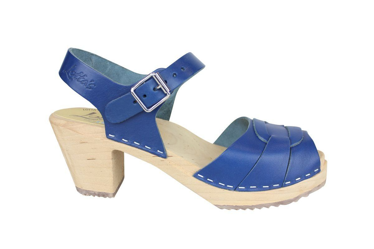 Peep Toe Clogs Ocean Blue side