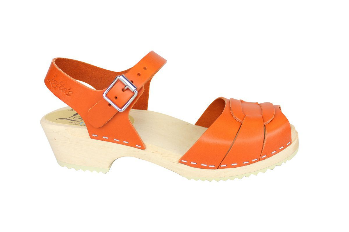 Low Peep Toe Clogs Orange side
