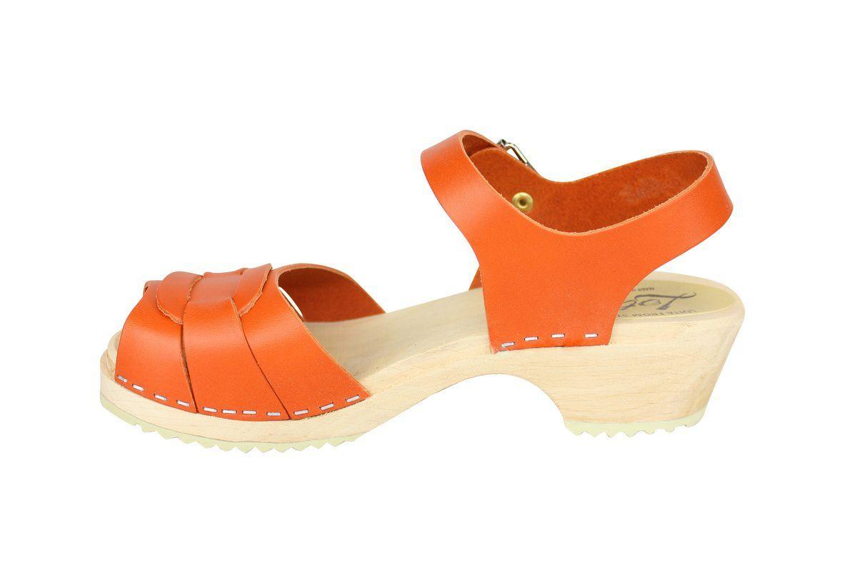 Low Peep Toe Clogs Orange rev side