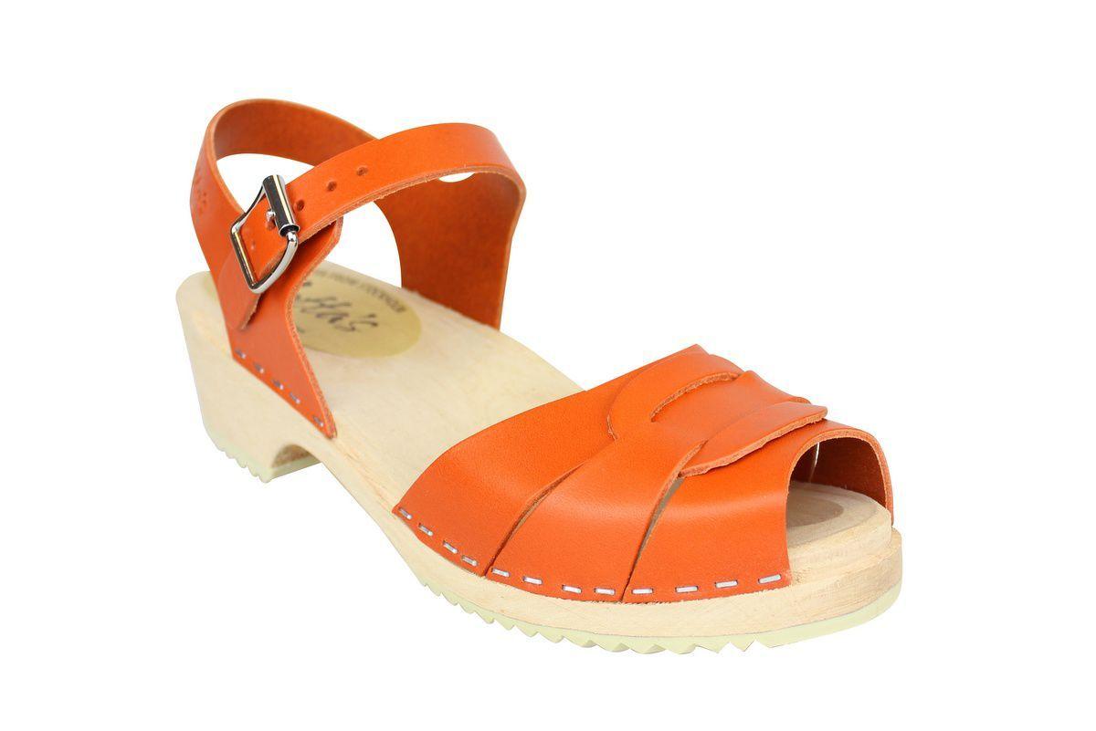 Low Peep Toe Clogs Orange main