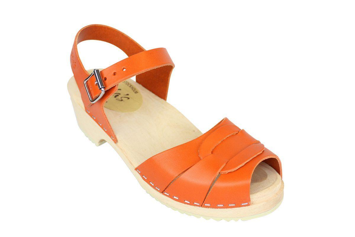 Low Peep Toe Clogs Orange
