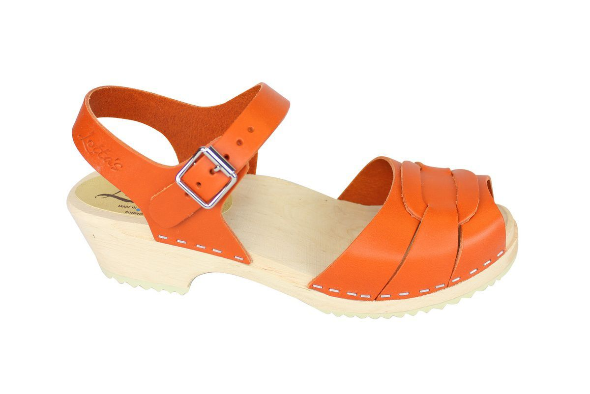 Low Peep Toe Clogs Orange side 2