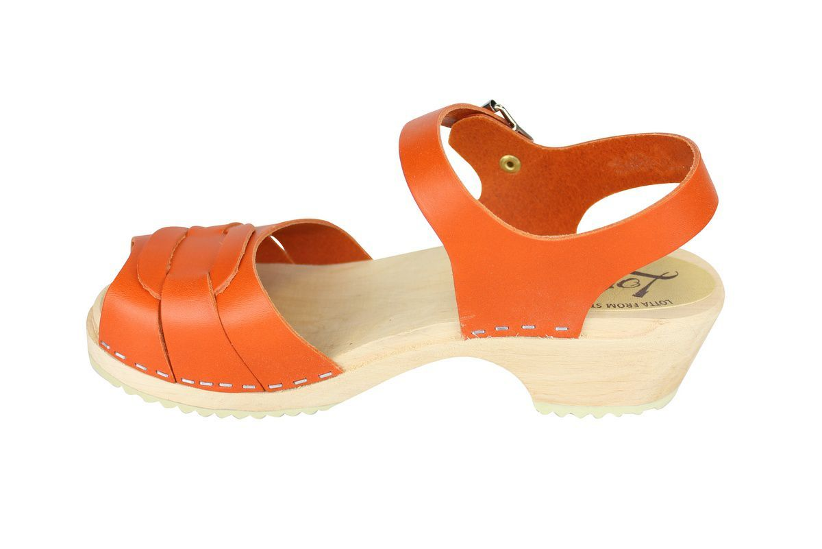 Low Peep Toe Clogs Orange rev side 2