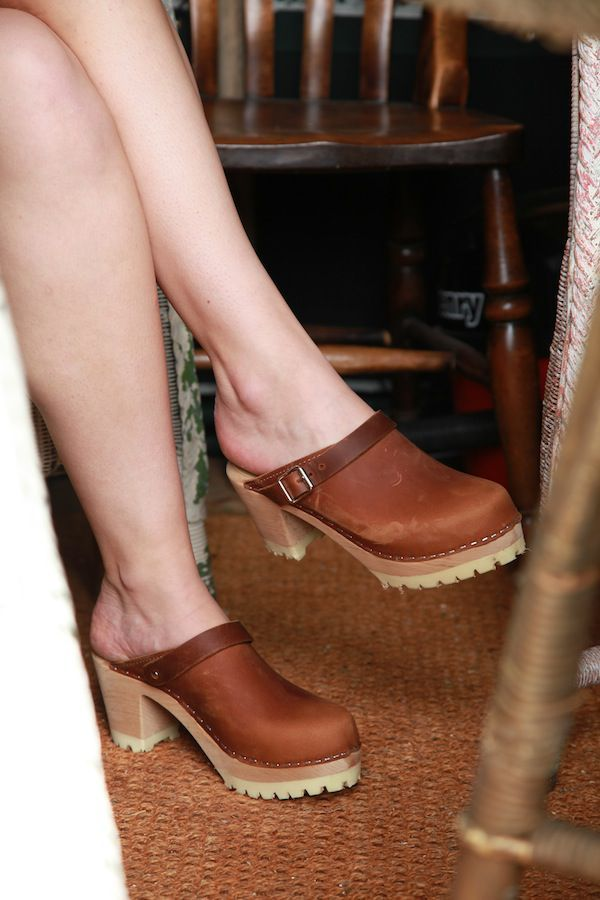 Lotta From Stockholm High Clog WIth Tractor Heel and Moveable strap in Brown Oiled Nubuck