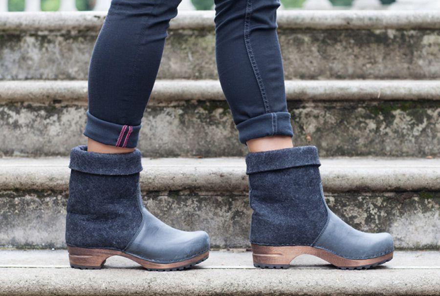 Sanita Fele Felt Wood Clog Boot Black