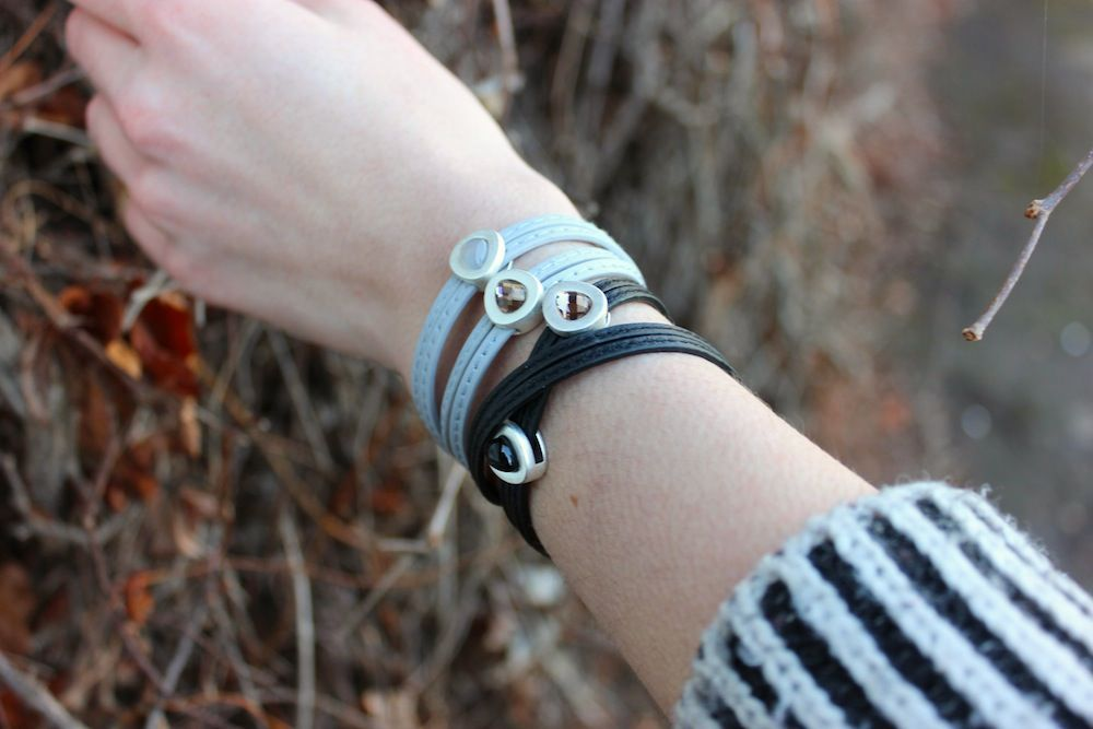 Vienna Bracelet Black Leather and Worn Silver
