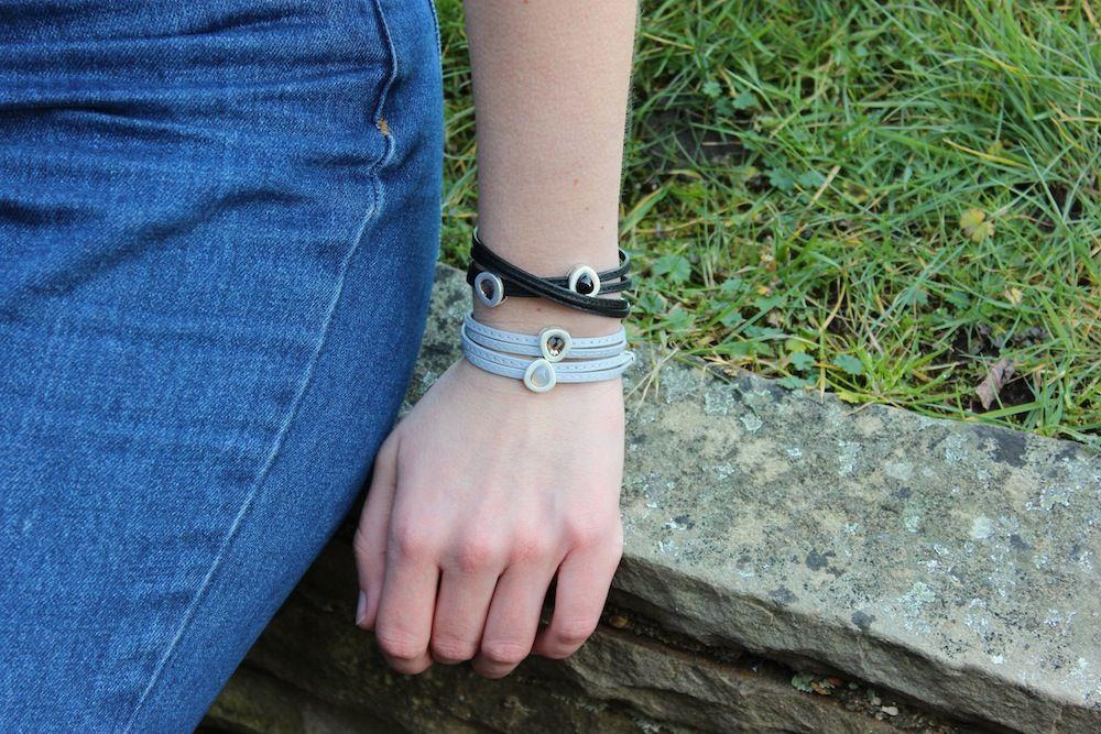 Vienna Bracelet Grey Leather and Worn Silver