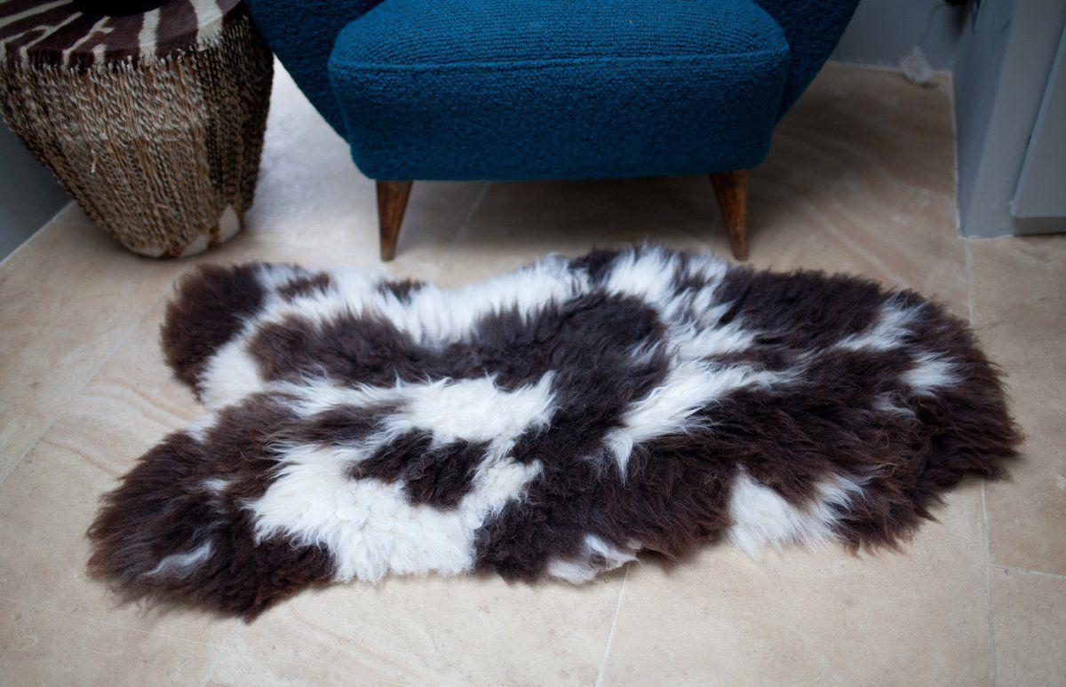 Brown White Spots Irish Sheepskin M