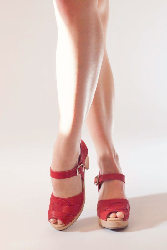 Peep Toe Clogs Red Leather Seconds