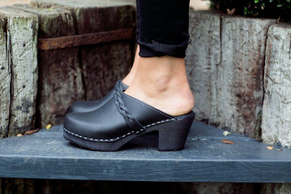 high heel clogs black with black