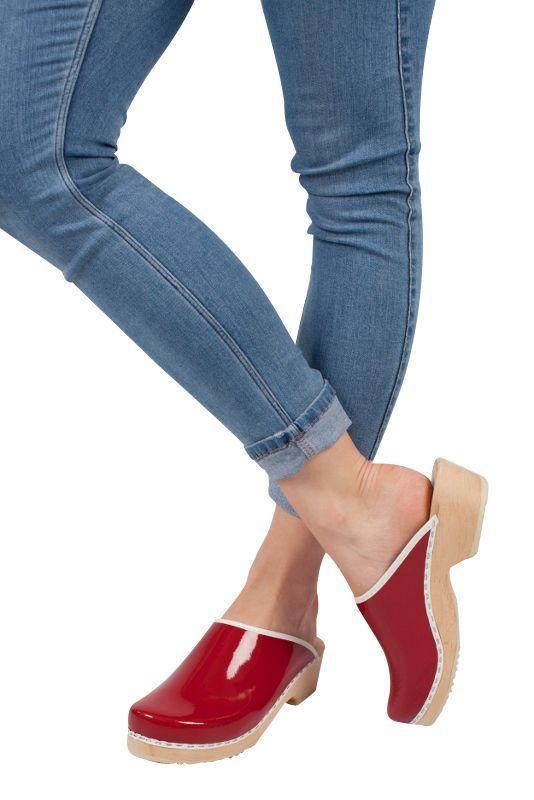 Lotta's Retro Patent Red Clogs