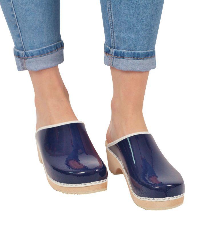 classic retro patent blue clogs