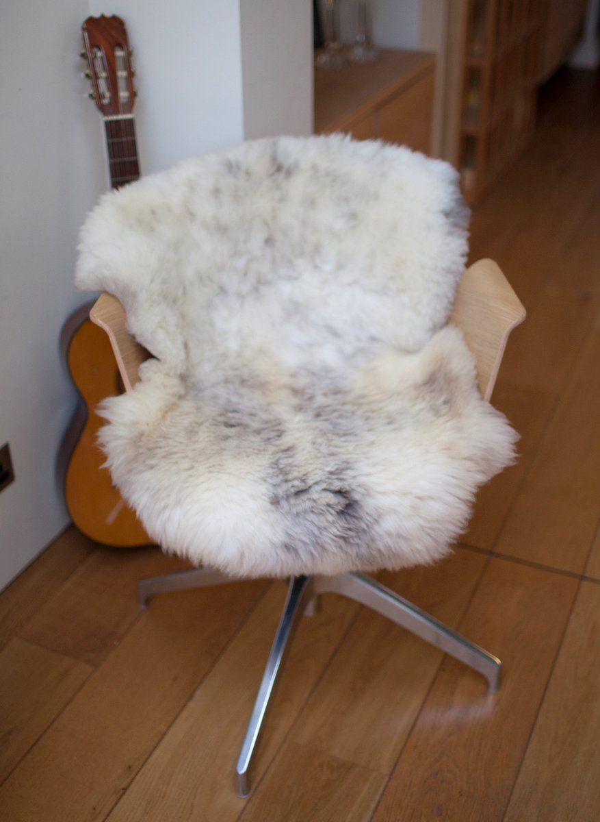 White speckled shorn UK sheepskin M
