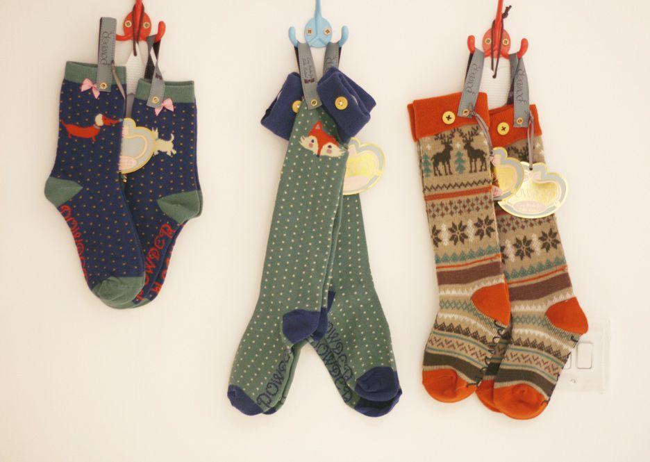 Powder Little Girl's Fair Isle Stag Socks Age 5 - 7 years