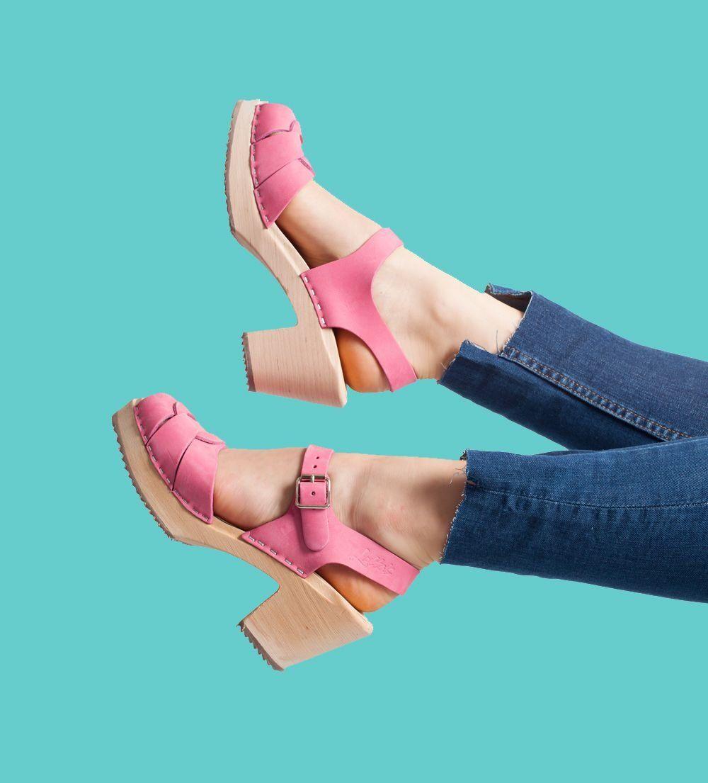 Peep Toe Clogs Pink Nubuck
