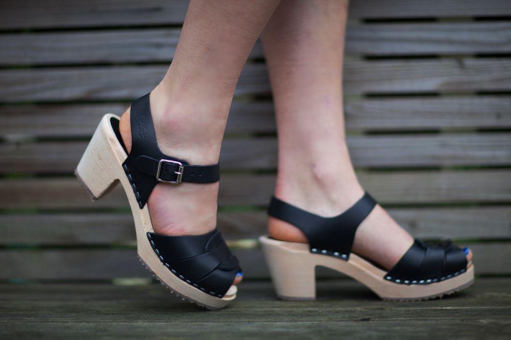 Peep Toe Clogs Black Leather