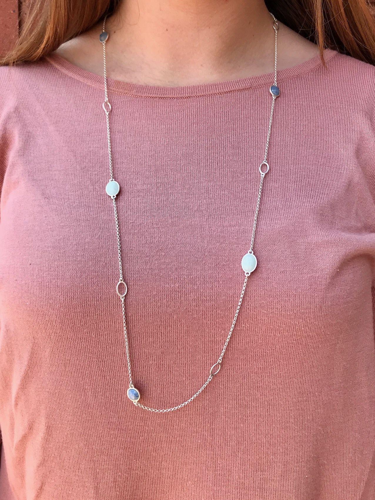 Blue Aventurine Aquamarine Necklace Worn Silver