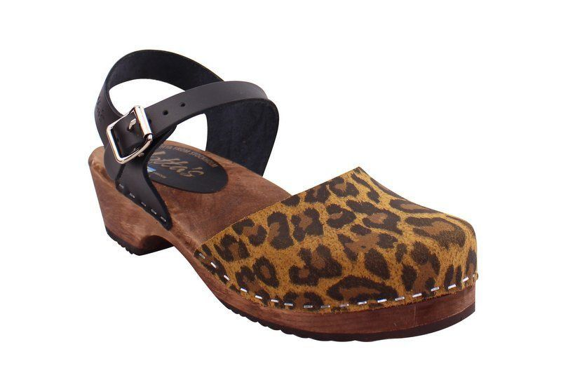 Low Wood in Leopard and Black on a Brown Base (High Heel Clogs)