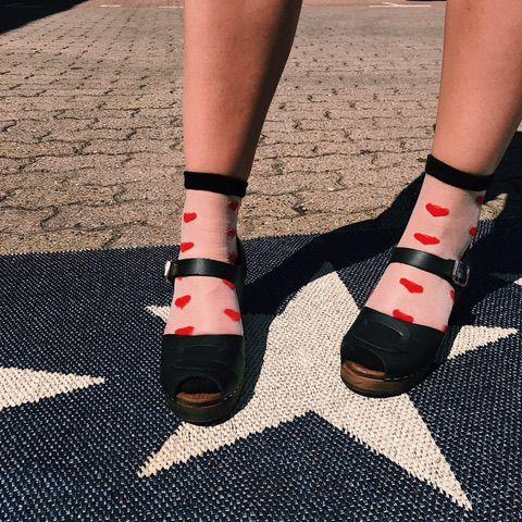 Romantic Heart Sheer Socks X 2