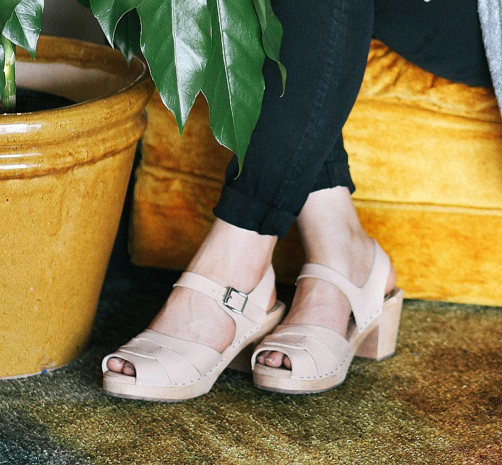 Peep Toe Clogs Natural Leather