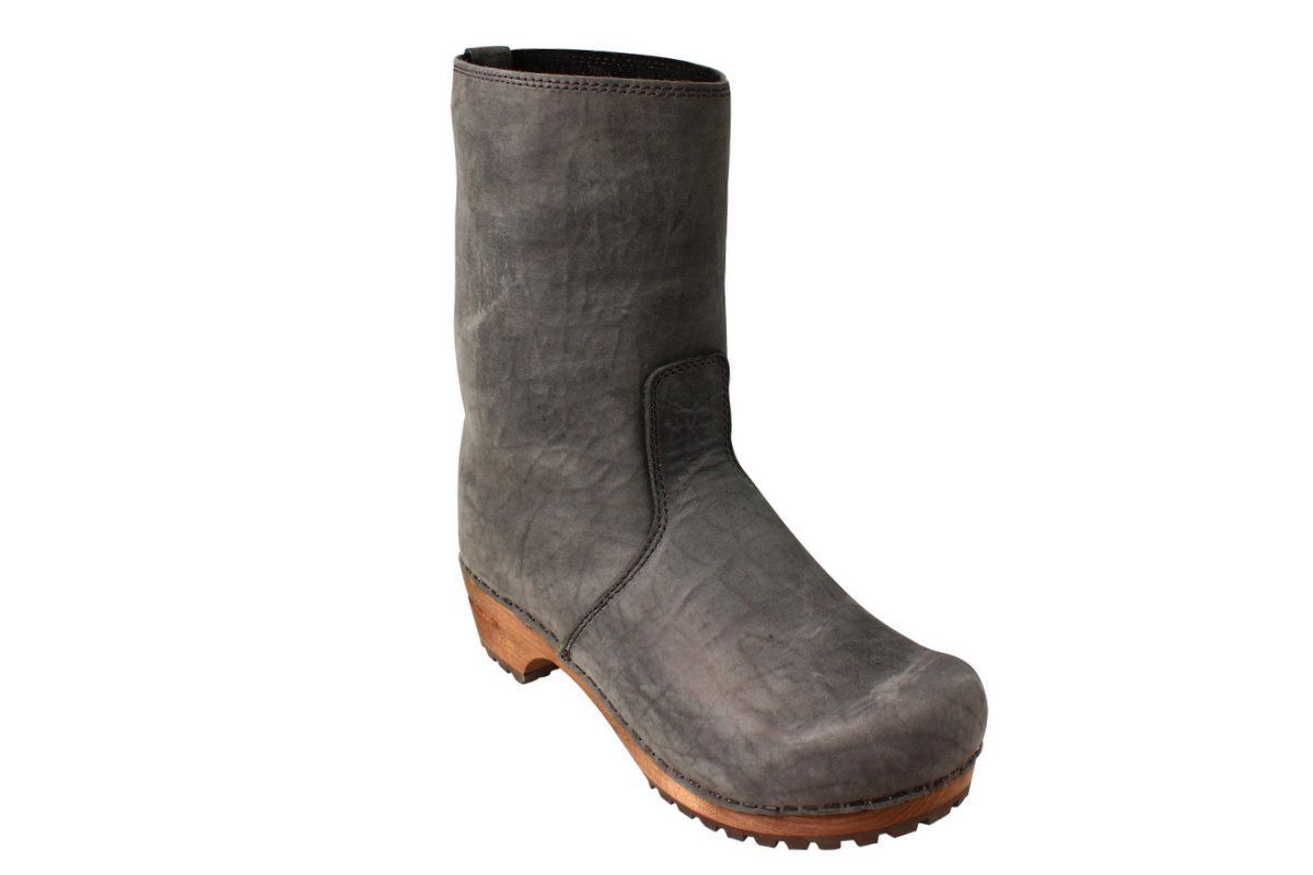 Sanita Juki Wood Clog Boot Charcoal Black