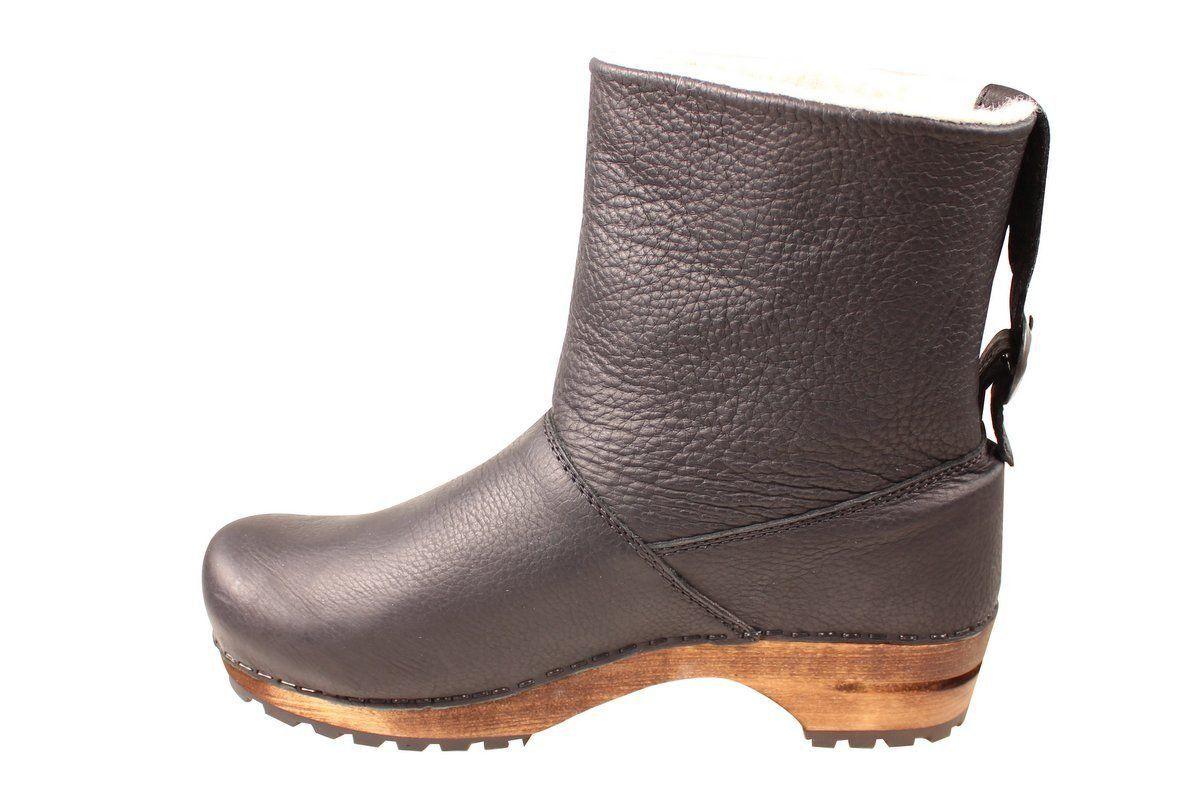 Sanita Silkan Wooden Clog Yak Boot Black