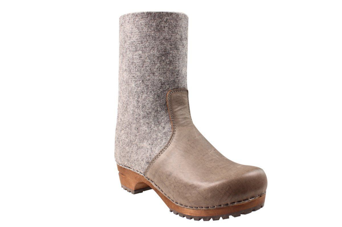 Sanita Fele Felt Wood Clog Boot Grey