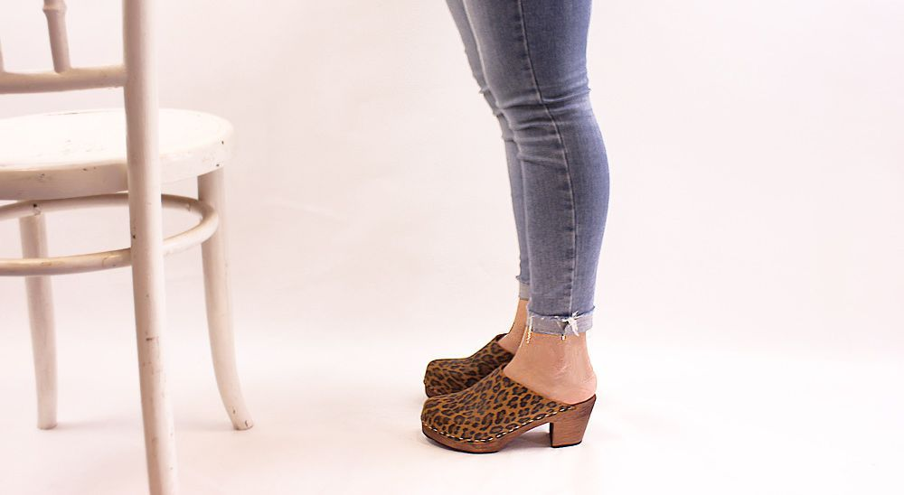 High Heel Classic Clog in Leopard with Brown Base Seconds
