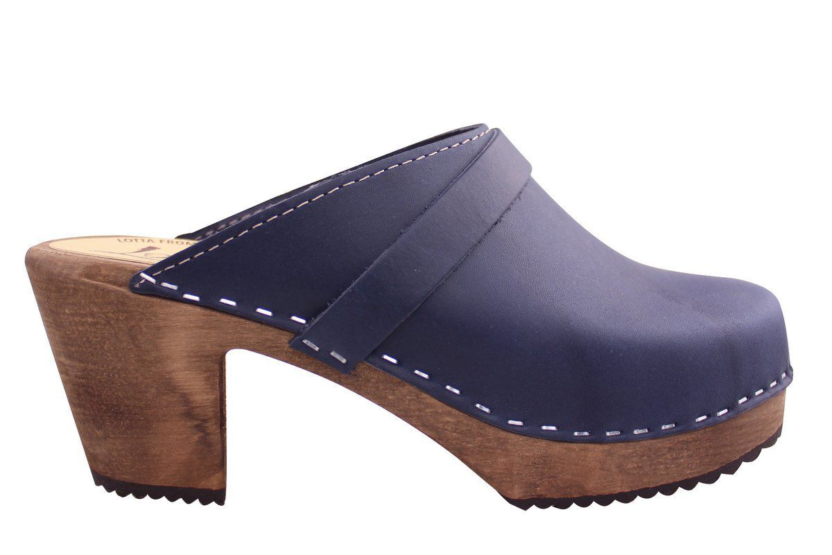 High Heel Classic Clog Navy Brown Base with Strap