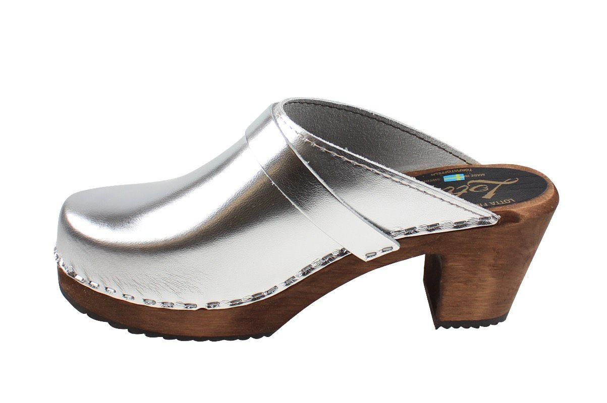 High Heel Classic Clog in Silver with Brown Base with Strap (High Heel Clogs)