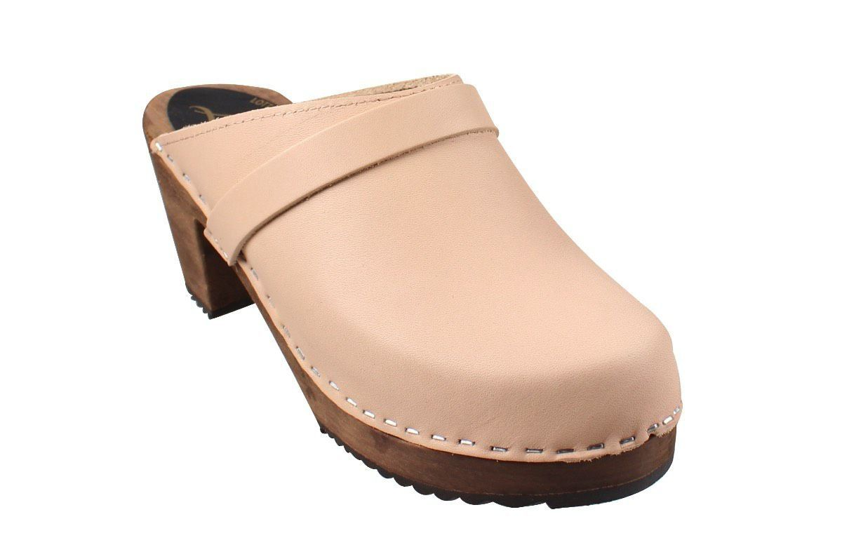 High Heel Classic Clog in Cappuccino with Brown Base with Strap