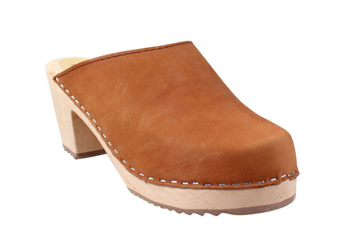 High Heel Classic Clog Brown Oiled Nubuck Seconds