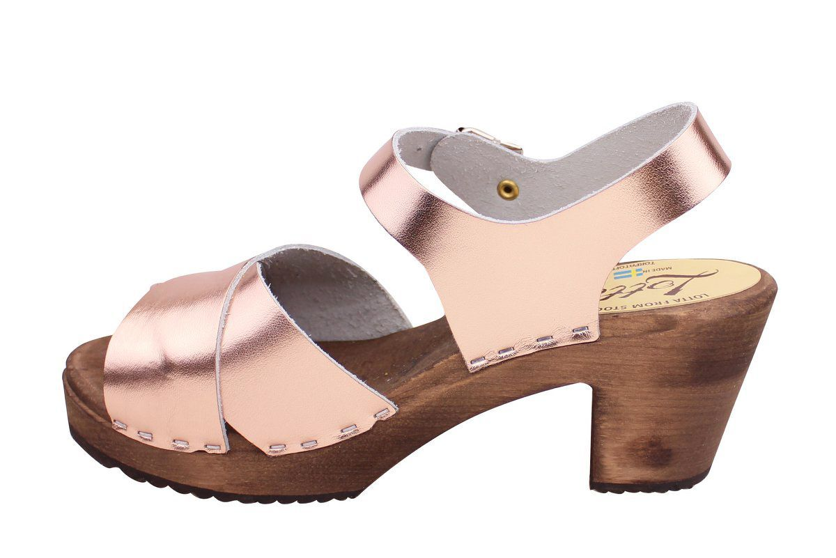 Cross Over Clogs Rose Gold on Brown Base Seconds