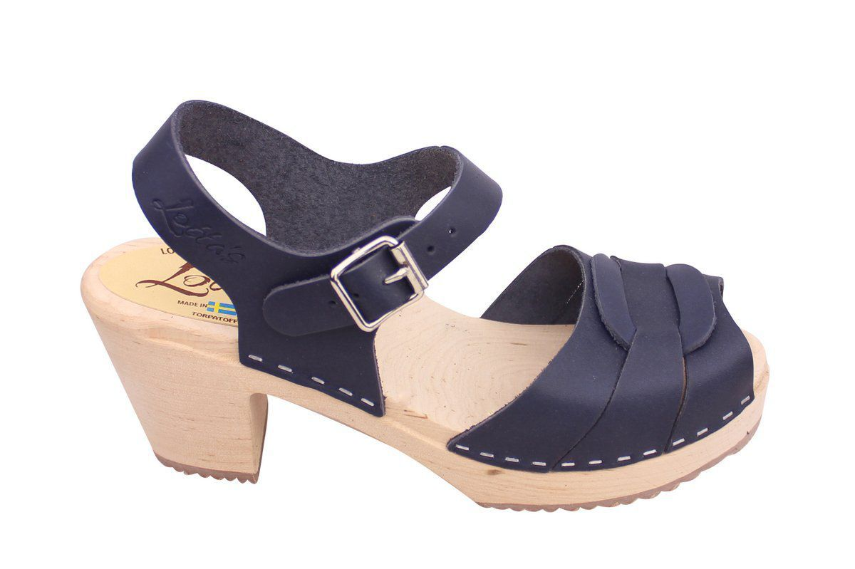 Peep Toe Clogs Navy on Natural Base