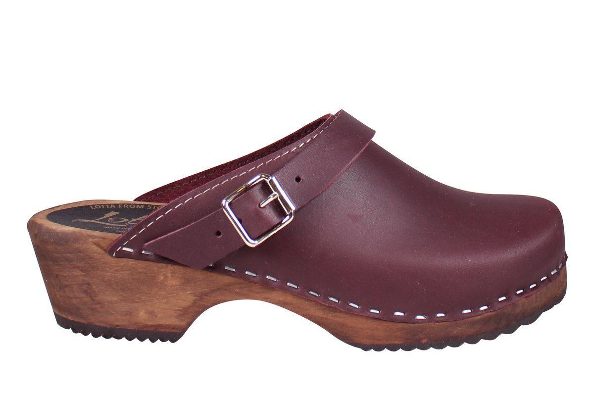 Classic Aubergine clogs with strap on Brown Base