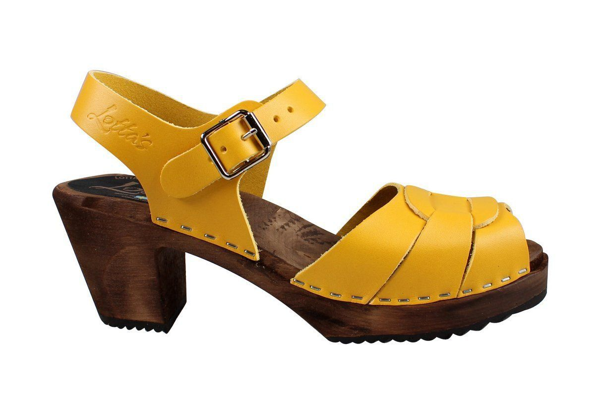 Peep Toe Clogs Yellow on Brown Base
