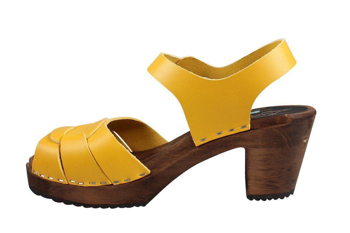 Peep Toe Clogs Yellow on Brown Base
