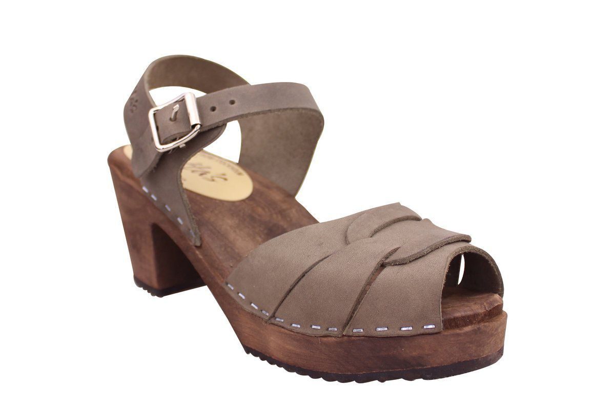 Peep Toe Clogs Dark Taupe Oiled Nubuck