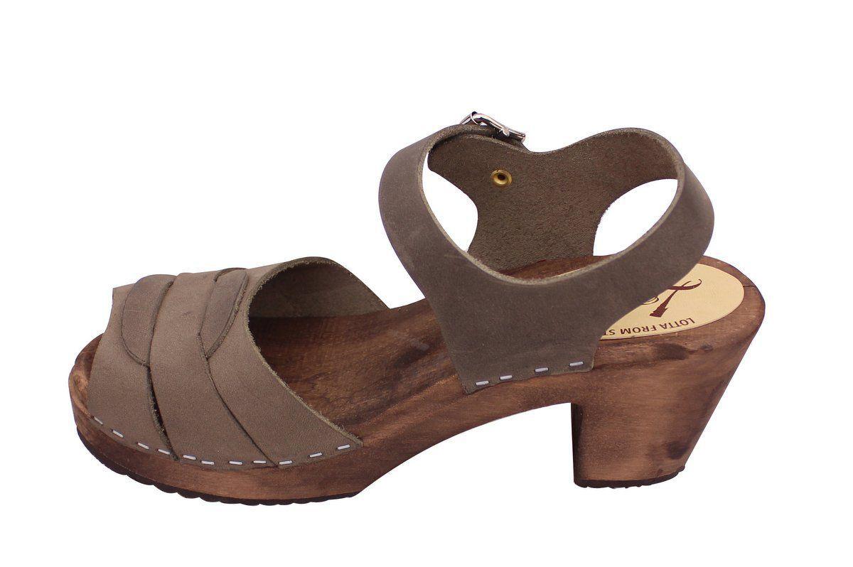 Peep Toe Clogs Dark Taupe Oiled Nubuck on Brown Bas